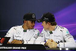 (L to R): Lewis Hamilton, Mercedes AMG F1 with team mate Nico Rosberg, Mercedes AMG F1 in the FIA Pr