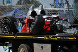 The crashed #38 Performance Tech Motorsports ORECA FLM09 Chevrolet: Charlie Shears, Raphael Matos, David Ostella