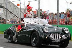 Max Chilton, Marussia F1 Team, tijdens de rijdersparade