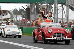 Nico Hülkenberg et Sergio Pérez lors de la parade des pilotes
