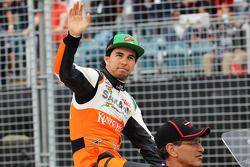 Sergio Perez, Sahara Force India F1, tijdens de rijdersparade