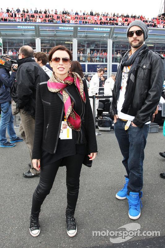 Dannii Minogue, with boyfriend Adrian Newman on the grid
