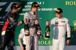 Daniel Ricciardo, Nico Rosberg et Kevin Magnussen