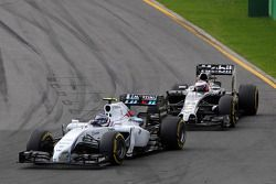 Valtteri Bottas, Williams FW36 leads Jenson Button, McLaren MP4-29