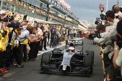 Third placed Kevin Magnussen, McLaren MP4-29 celebrates as he enters parc ferme