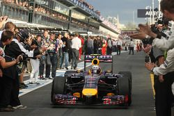Second placed Daniel Ricciardo, Red Bull Racing RB10 enters parc ferme