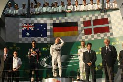 The podium, Red Bull Racing, second; Nico Rosberg, Mercedes AMG F1, race winner; Kevin Magnussen, Mc