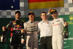 The podium, Red Bull Racing, second; Nico Rosberg, Mercedes AMG F1, race winner; Andy Cowell, Mercedes-Benz High Performance Powertrains Managing Director; Kevin Magnussen, McLaren, third