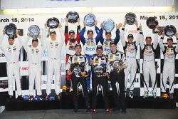 Class winners podium: P class winners Marino Franchitti, Memo Rojas, Scott Pruett, GTLM winners Patr