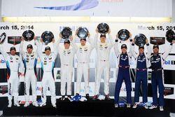 GTLM podio: vincitori Jörg Bergmeister, Patrick Long, Michael Christensen, il secondo posto Jonathan