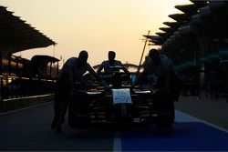 The Sahara Force India F1 VJM07 is pushed down the pit lane