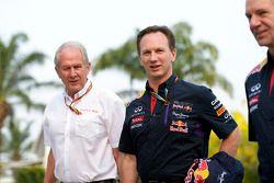 Dr Helmut Marko, Red Bull, Motorsportberater; Christian Horner, Red Bull Racing, Teamchef; Adrian Ne