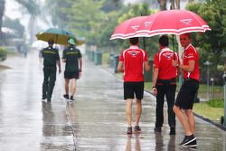 Max Chilton, Marussia F1 Team in a wet and rainy paddock