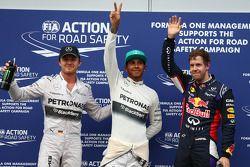 Ganador de la pole Lewis Hamilton, segundo puesto Sebastian Vettel y el tercero Nico Rosberg