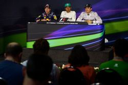 The post qualifying FIA Press Conference: Sebastian Vettel, Red Bull Racing, second; Lewis Hamilton,