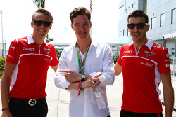 Max Chilton, Marussia F1 Team, and team mate Jules Bianchi, Marussia F1 Team, with Benedict Cumberbatch, Actor