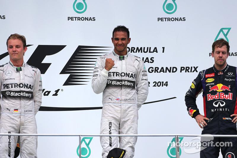 2014: 1. Lewis Hamilton, 2. Nico Rosberg, 3. Sebastian Vettel