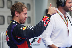 Sebastian Vettel, Red Bull Racing celebrates his third position in parc ferme