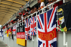 Flags and banners in the grandstand