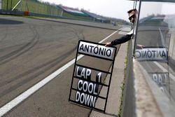 Timo Glock, BMW MTEK Takımı BMW M3 DTM shows Pitboard of Antonio Felix da Costa, BMW MTEK Takımı BMW