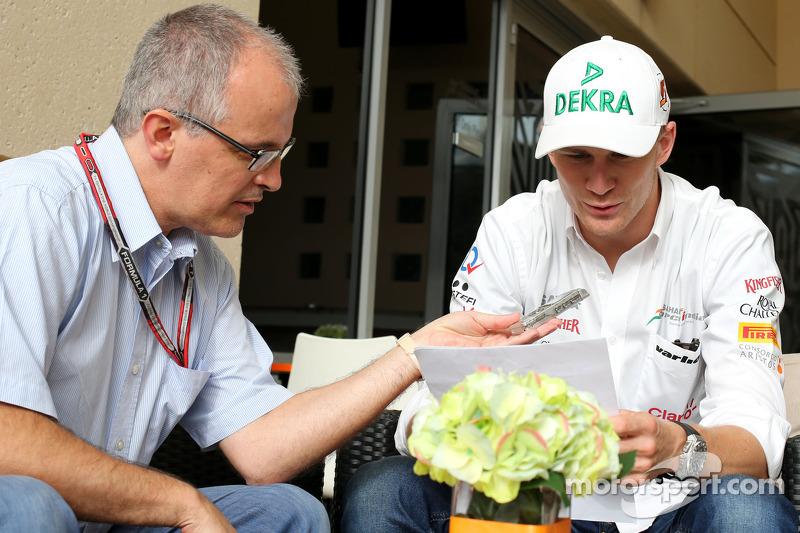 Luis Vasconcelos, F1-Journalist; Nico Hülkenberg, Sahara Force India