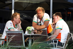 (L to R): Andrew Green, Sahara Force India F1 Team Technical Director with Robert Fernley, Sahara Force India F1 Team Deputy Team Principal and Otmar Szafnauer, Sahara Force India F1 Chief Operating Officer