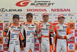 GT500 polesitters Kazuya Oshima, Yuji Kunimoto, polesitters GT300 Morio Nitta, Koki Saga