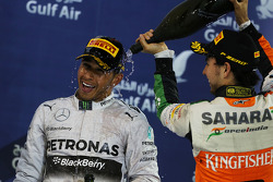 The podium, Mercedes AMG F1 celebrates with third placed Sergio Perez, Sahara Force India F1