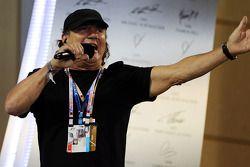 Brian Johnson, AC/DC Lead Singer on the podium