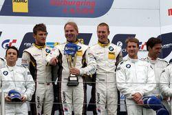 Podium: second place Claudia Hurtgen, Jens Klingmann, Dominik Baumann, winners Maxime Martin, Uwe Al