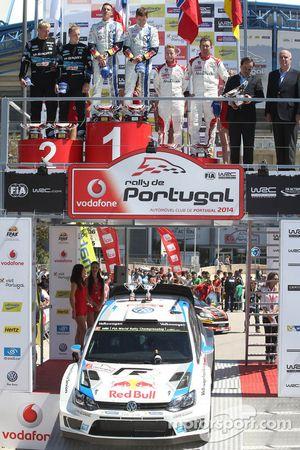 Winners Sébastien Ogier and Julien Ingrassia,second place Mikko Hirvonen and Jarmo Lehtinen, third p