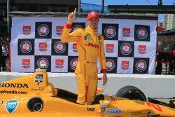 Ryan Hunter-Reay celebrates pole position