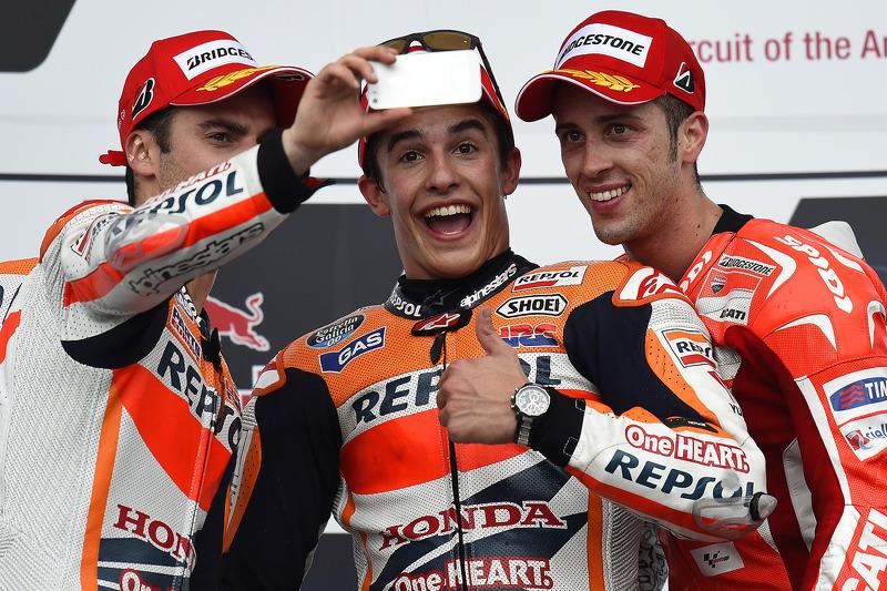 Carrera ganador Marc Márquez, segundo puesto de Dani Pedrosa, Andrea Dovizioso de tercer lugar