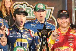 Chase Elliott, Greg Ives and Dale Earnhardt Jr. in victory lane