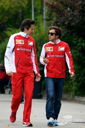 Fernando Alonso, Ferrari, mit Massimo Rivola, Ferrari, Sportdirektor