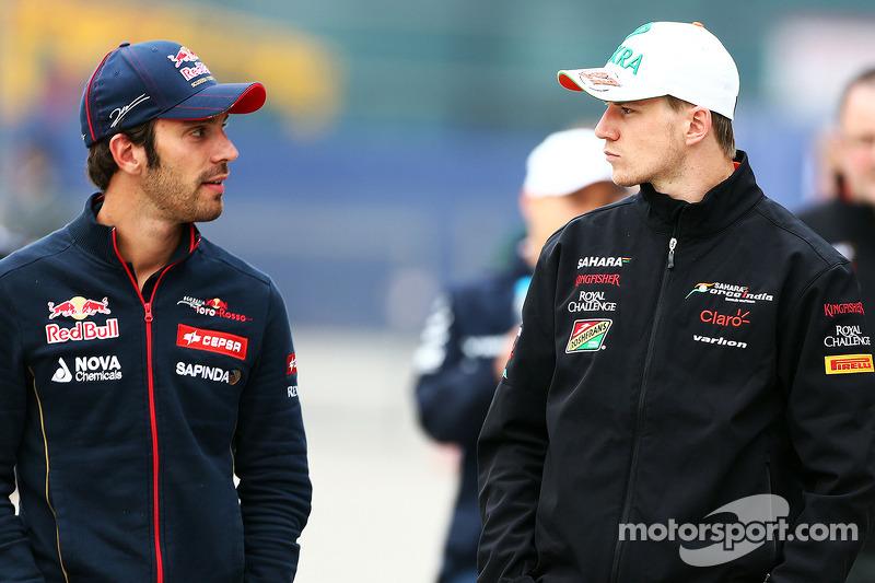 (L to R): Jean-Eric Vergne, Scuderia Toro Rosso and Nico Hulkenberg, Sahara Force India F1