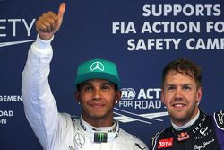 Lewis Hamilton, Mercedes AMG F1 Team y Sebastian Vettel, Red Bull Racing