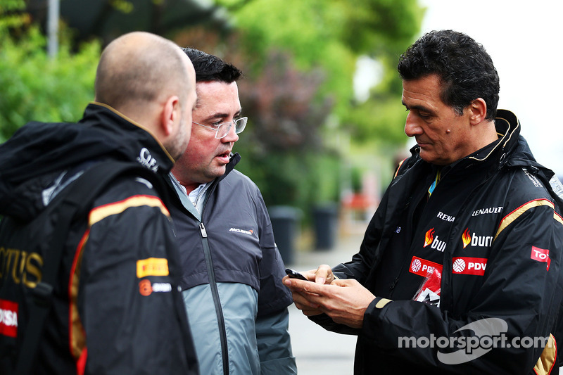 (L to R): Gerard Lopez, Lotus F1 Team Principal with Eric Boullier, McLaren Racing Director and Fede