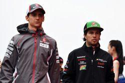 Esteban Gutiérrez, Sauber y Sergio Pérez, Sahara Force India F1 en el desfile de pilotos