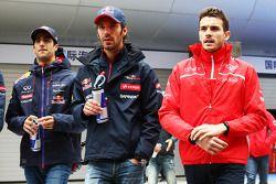 Daniel Ricciardo, Red Bull Racing; Jean-Eric Vergne, Scuderia Toro Rosso; Jules Bianchi, Marussia F1