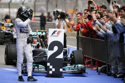Nico Rosberg, Mercedes AMG F1 W05 celebrates his second position in parc ferme