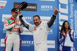 Second place Yvan Muller, Citroën C-Elysee WTCC, Citroën Total WTCC and third place Tiago Monteiro,