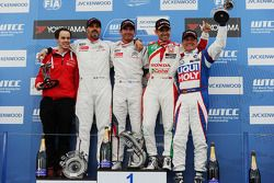 Race winner Jose Maria Lopez, Citroën C-Elysee WTCC, Citroën Total WTCC and second place Yvan Muller
