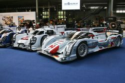 A Toyota TS040 Hybrid, Porsche 919 Hybrid and Audi R18 e-tron quattro on display at the Autoworld mu