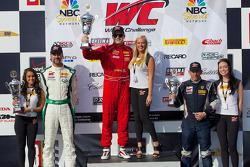 GT-A组领奖台:比赛获胜者尼克·曼库索,第二名蒂姆·帕帕斯,第三名亨里克·海德曼