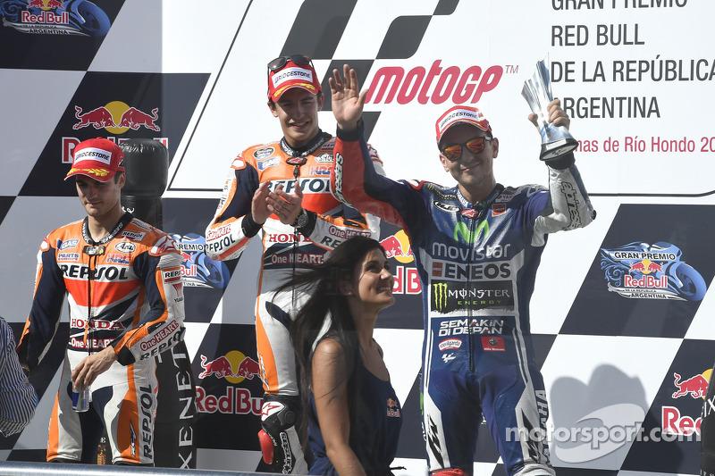 Le podium du GP d'Argentine 2014 : Marc Márquez, Dani Pedrosa, Jorge Lorenzo