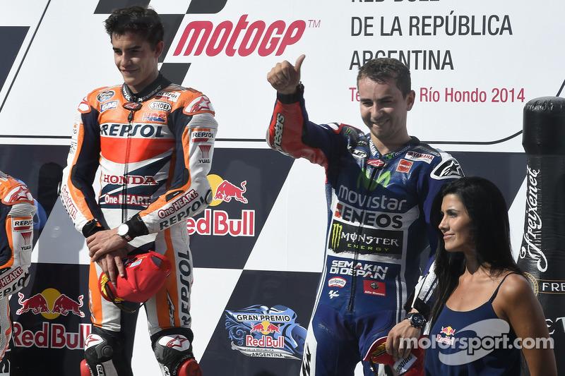 Race winner Marc Marquez, third place Jorge Lorenzo