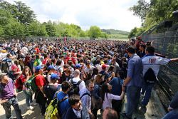 Commemoration ceremony at the Tamburello curve atmosphere