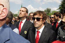 Commemoration ceremony at the Tamburello curve, Fernando Alonso