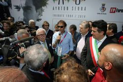 Commemoration ceremony at the Tamburello curve, Emanuele Pirro